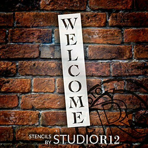 Welcome Stencil by StudioR12  Reusable Mylar Template  Painting Chalk Use...