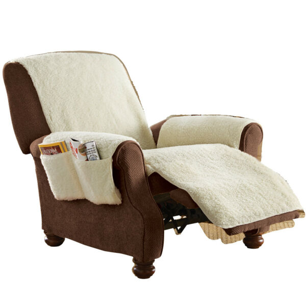 Fleece Recliner Furniture Protector Cover with Pockets $19.99