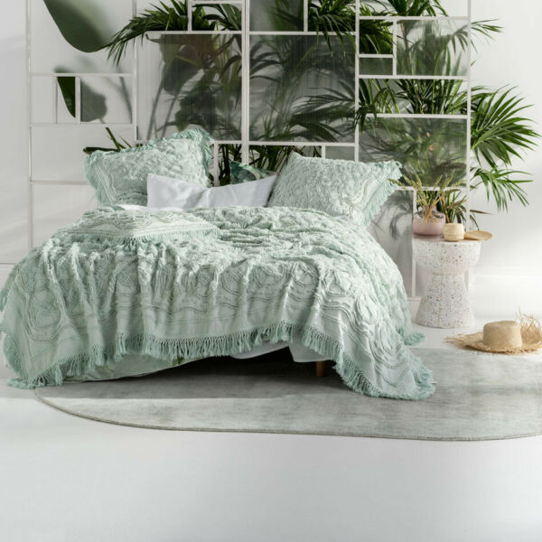 Linen House Somers Mint Cotton Coverlet Euro Cushion Pillowsham Pair AU $104.99