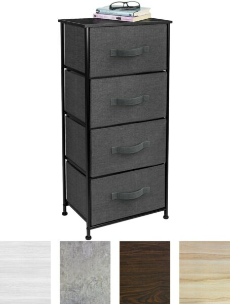 Nightstand Chest 4 Drawers Bedside Dresser Furniture for Bedroom Office Organize $61.89