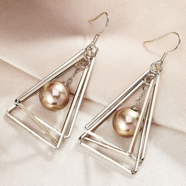 Thick 18K Coffee Gold Filled Created Pearl Modern 3D Triangle Dangle Earrings
