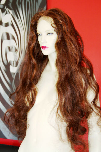 Remi Remy Full Lace Wig Premium Wavy Indian Human Hair Long Brown Red Mix