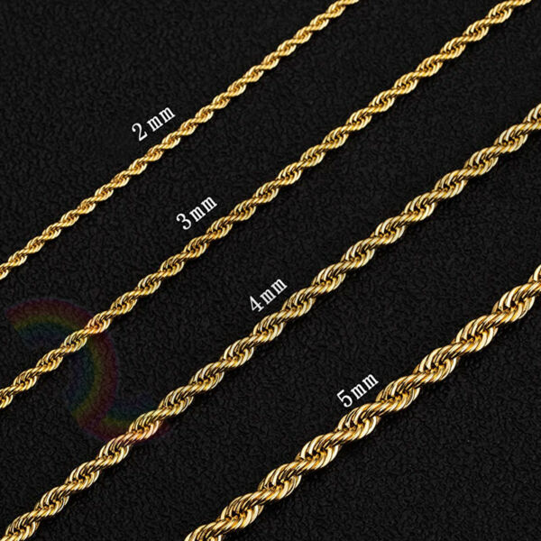 Women Men Stainless Steel Gold 2mm 3mm 4mm 5mm Rope Necklace Chain Link C11