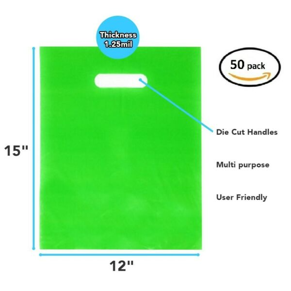 50 Pack 12quot; x 15quot; x 1.25 mil Thick Green Merchandise Plastic Glossy Retail Bags