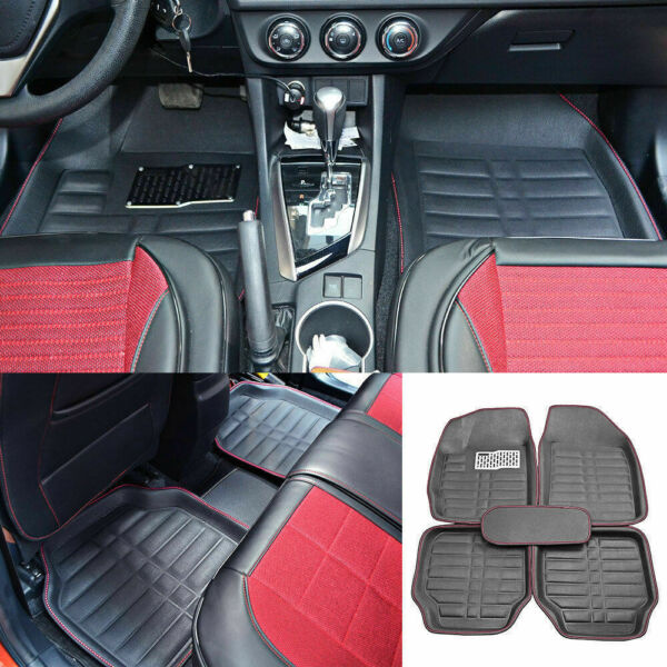 Auto Floor Mats for Rubber Liners Black Heavy Duty All Weather for Car 5pc Set
