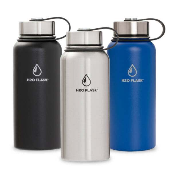 H2O Flask Insulated Water Bottle with Straw Stainless Steel Wide Mouth 32oz 40oz