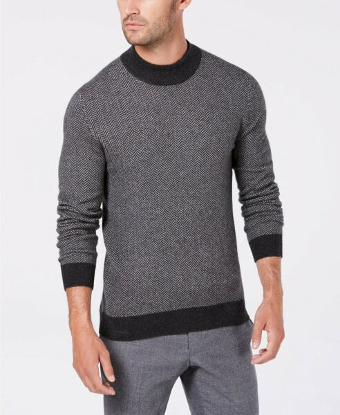 Tasso Elba Mens Cashmere Herringbone Mock Neck Sweater