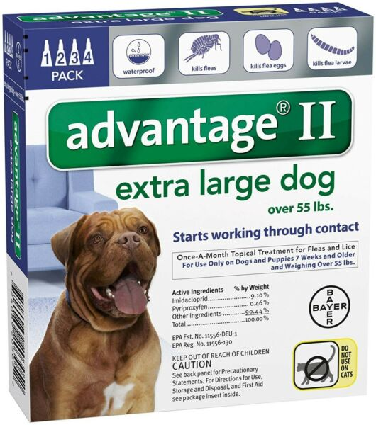 Advantage II Flea Treatment for Extra Large Dogs over 55 Lbs 4 Month Supply