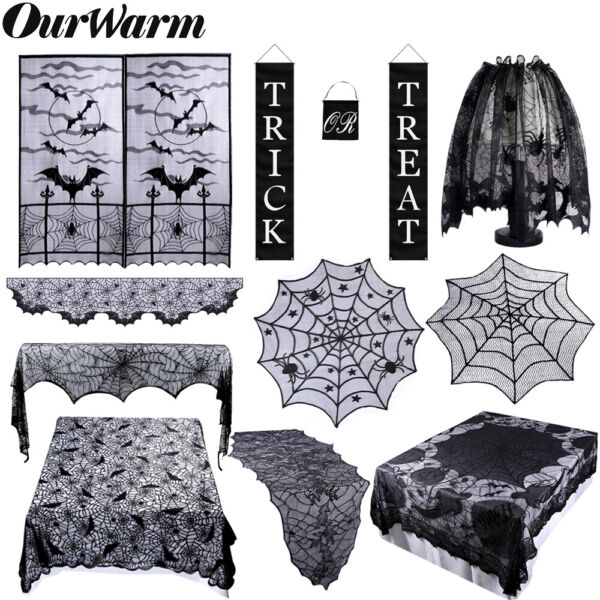 Black Lace Spider Web Table Runner Fireplace Scarf Cloth Cover Halloween Decor