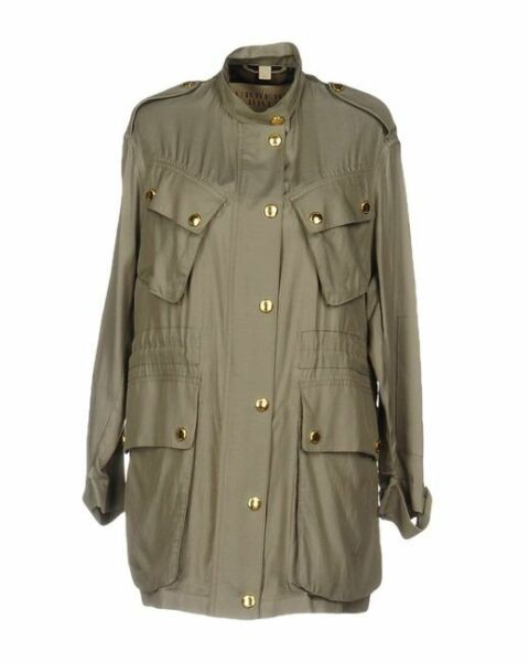 NWT BURBERRY Green Cupro Cotton Jacket Short Military Jacket Size 12 UK 10 US $375.00