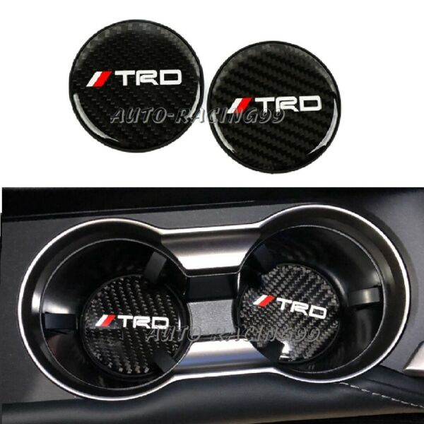 2Pcs TRD Carbon Fiber Car Cup Holder Pad Water Cup Slot Non-Slip Mat Accessories
