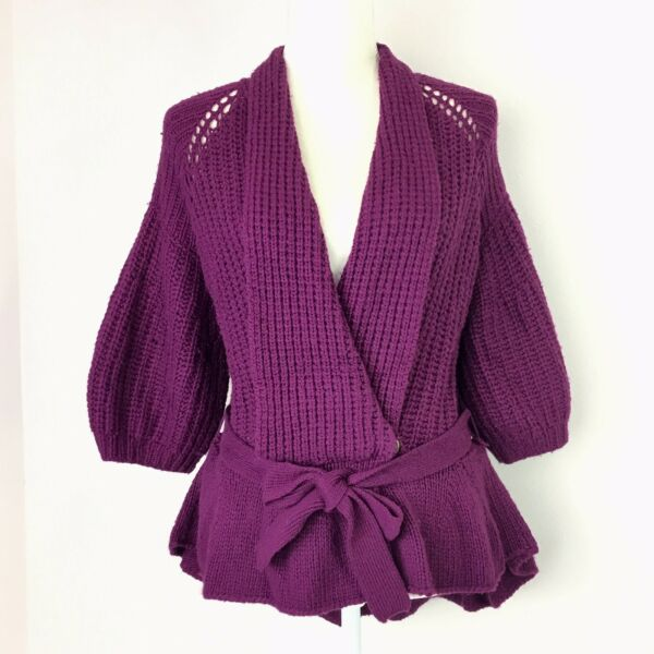 Nanette Lepore Purple Chunky Knit Long Peplum Cardigan Wrap Sweater Oversized XS