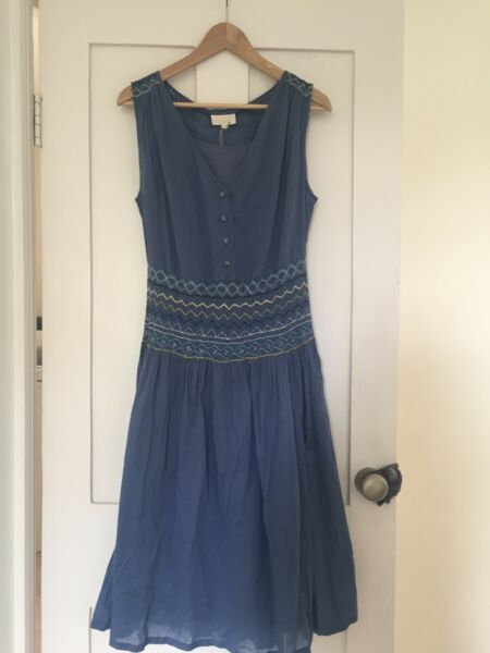 NEW TOAST WOMEN'S BLUE COTTON DRESS SIZE 14