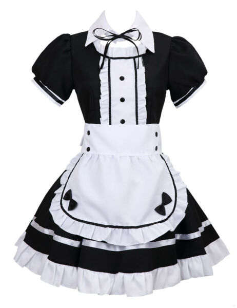 Womens Anime Cosplay French Maid Costume with Apron 5 PCS Halloween Fancy Dress