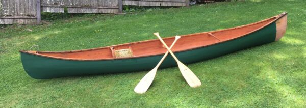 Handcrafted 14' Wood Canoe with Oars