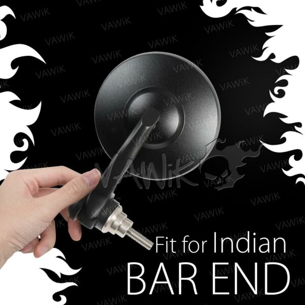 VAWiK BOB Motorcycle Bar End Mirrors Round Black E-Mark For Indian Scout Bobber