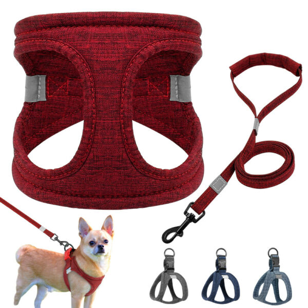 Reflective Dog Step In Harness Leash set Cotton Padded Harness Vest Yorkshire