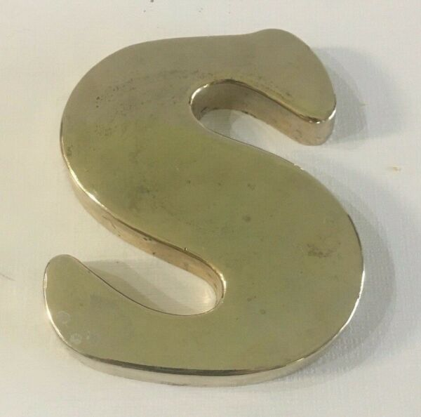 Vintage Brass Letter S Home Decor Paperweight