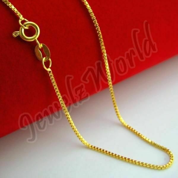 14K Solid Yellow Gold Box Necklace Real Gold Chain 16quot; 18quot; 20quot; 22quot; 24quot; 26quot; 30quot; $139.99