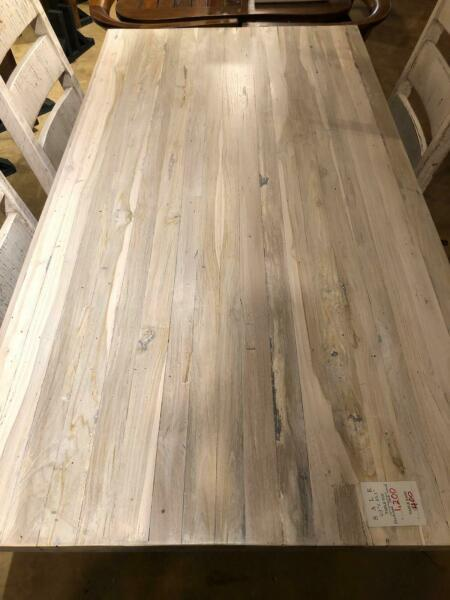 Reclaimed solid teak wood in white wash bleached finish dining table top rustic $1250.00