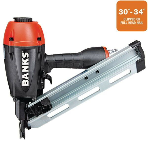Banks 30°-34° Framing Nailer 2 in to 3-12 in. Adjustable depth Dry-fire lockout