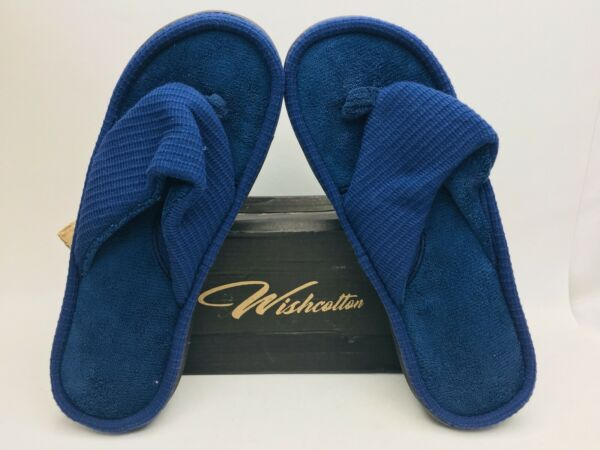 Wishcotton Men's Slubbed Fabric Flip-Flop Slippers Size 9-10 New Open Box E32 AA $21.59