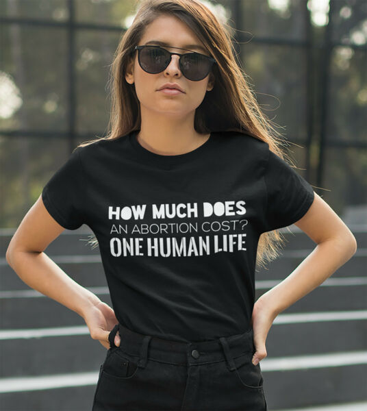 HOW MUCH DOES AN ABORTION COST? ONE HUMAN LIFE PRO LIFE T SHIRT CHOOSE LIFE BABY $9.99