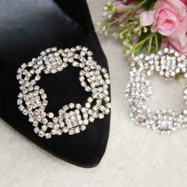 Vintage Style Tone Rhinestone Crystal Square Shoes Clips Metal Decoration P U1P1