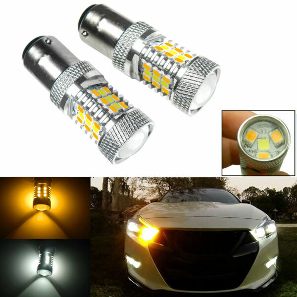 2x 1157 2357 2057 High Power AmberWhite Switchback LED Turn Signal Light Bulbs