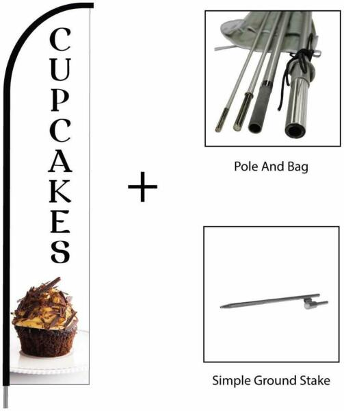 Cupcakes Banner Feather Flag Swooper Pole Kit Outdoor Business amp; Store Sign 15ft