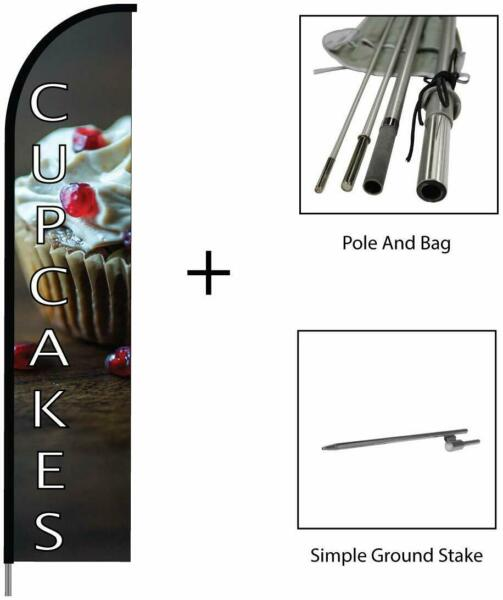 Cupcakes Banner Flag Feather Swooper Pole Kit Outdoor Business amp; Store Sign 15ft
