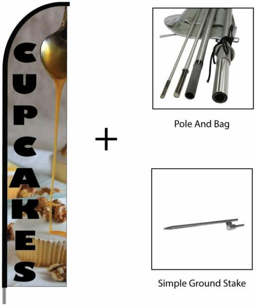 Cupcakes Flag Feather Banner Swooper Pole Kit Outdoor Business amp; Store Sign 15ft