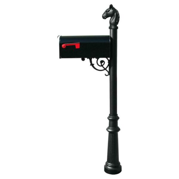 Black Decorative Post Mounted Mailbox Premium Aluma Shield Weather Coating