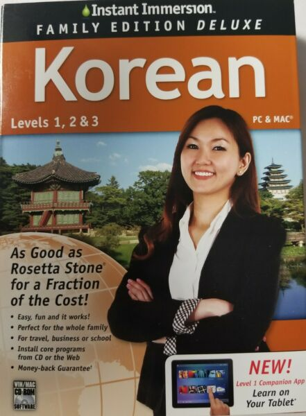 KOREAN Instant Immersion 123 Family Edition Deluxe NEW Reduced PC amp; MAC $13.99