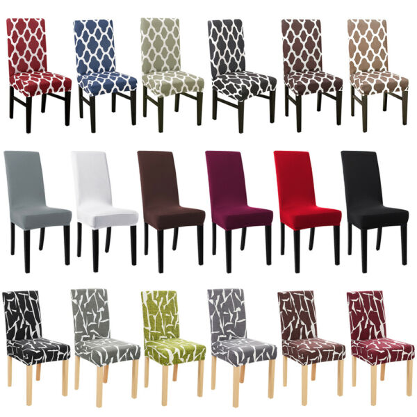 1/4/6Pc Spandex Stretch Chair Seat Covers Slipcovers Dining Room Wedding Banquet