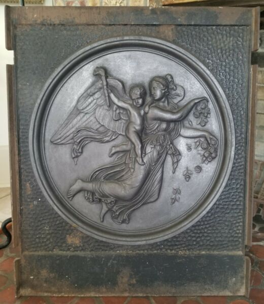 Antique Cast Iron Fireplace Fire Back Mythical Scene 30