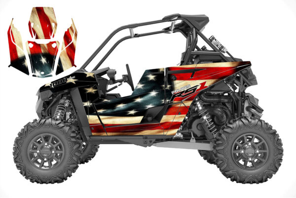 Polaris RS1 graphics wrap kit 24 mil thick premium vinyl American Flag Design