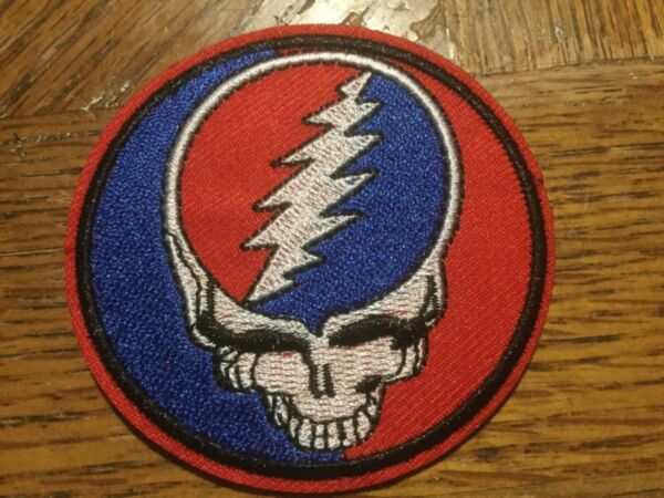 """Grateful Dead Band Patch Rock Music Embroidered Iron On Applique 2.75"""" Skull"""
