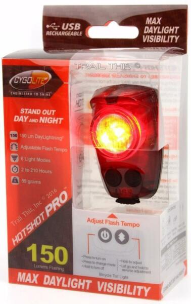 CygoLite Hotshot Pro 150 Lumens LED Bicycle Rear Tail Light USB Rechargeable $34.50