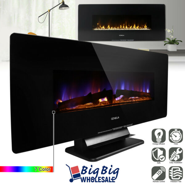1400W 42quot; Wall Mount Free Standing Electric Fireplace Heater 7Color LED Remote