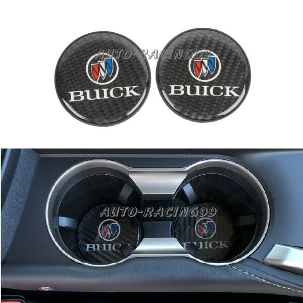 2x BUICK Carbon Fiber Car Cup Holder Pad Water Cup Slot Non-Slip Mat Accessories