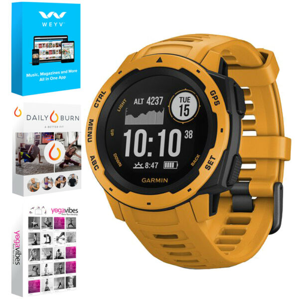 Garmin Instinct Rugged Outdoor Watch w GPS Sunburst + Fitness & Wellness Suite
