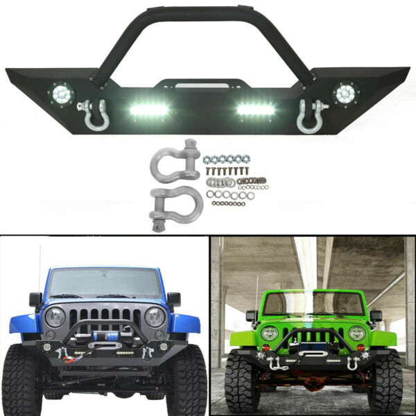 Front Bumper with Built-in LED Lights and For Jeep Wrangler 07-18 JK Unlimited