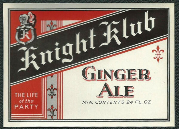 Knight Klub Ginger Ale Soda Vintage 1930's Label NOS - St. Louis MO