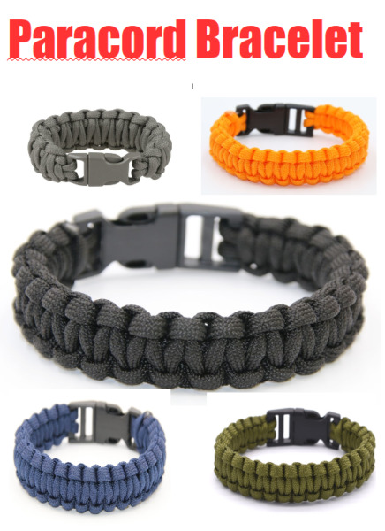 Survival Paracord Bracelet Wristband Military Camping Hiking Emergency Gear USA