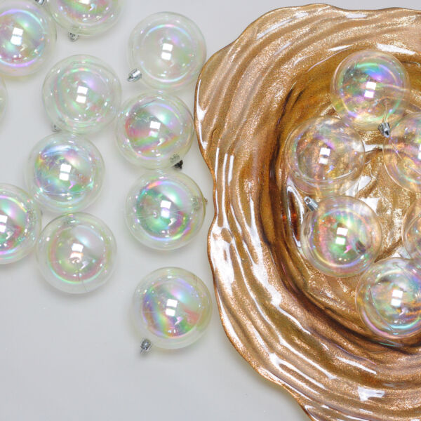 Northlight 32ct Clear Iridescent Shatterproof Christmas Ball Ornaments 3.25