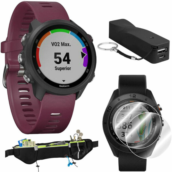 Garmin Forerunner 245 GPS Sport Watch (Berry) + Portable Power Bank Bundle
