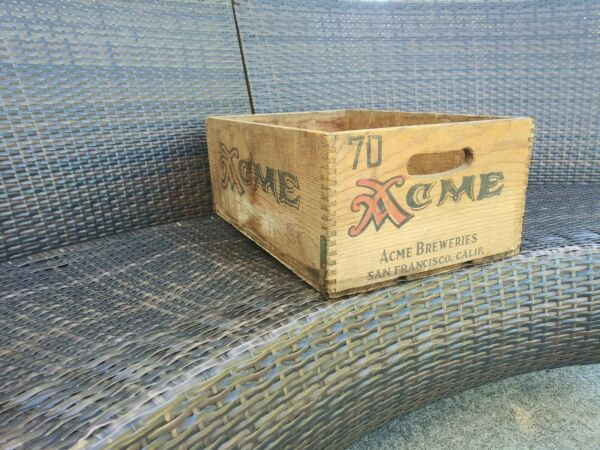 ACME Brewing Co San Francisco CA Wooden Beer Crate Box Advertising Vintage