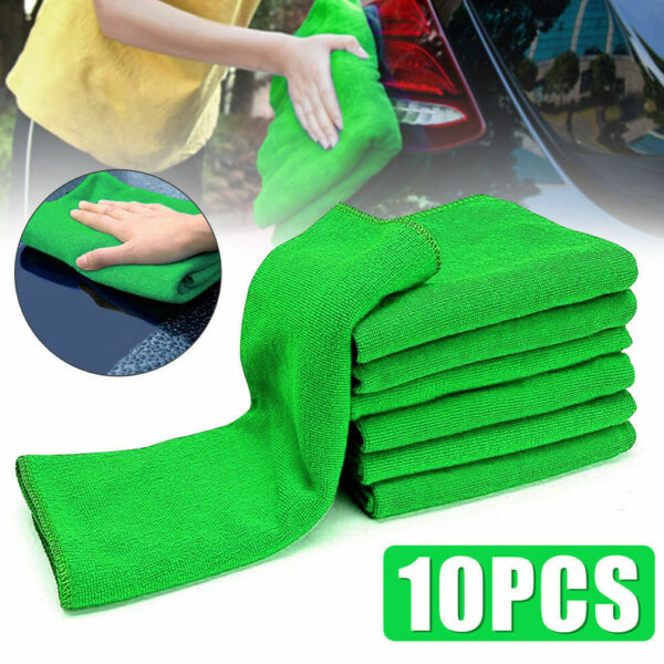 Green Microfiber Cleaning Auto Car Detailing Soft Wash Cloths Towel Duster 10Pcs