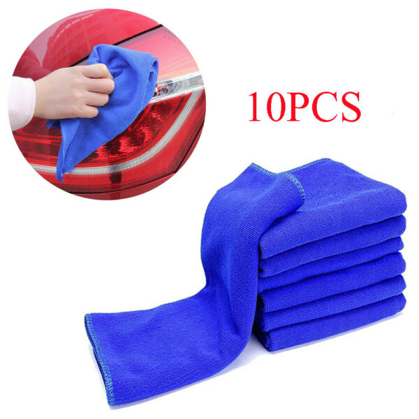 10x Microfiber Blue Car Detailing Soft Cloths Towel Duster Cleaning Accessories